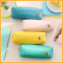 Korean Cute Candy Color Leather Zippers Student Pencil Bag