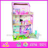 2015 lovely diy wooden doll play house, cute kids toy play house set, hot sale children doll play house toy W06A028