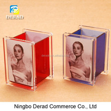 Acrylic Square Magnetic Pen Holder with Photo Frame Open Sexy Girl Full Photo