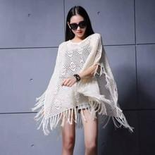 2016 venta al por mayor de europa / ee.uu. con estilo de otoño / invierno knit poncho , poncho de lana con flecos patrón