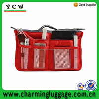 Functional makeup bag cosmetic bags with compartments and mesh pockets