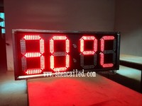 12 inch outdoor led clock time date temperature sign