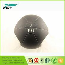 Dual black rubber 3kg medicine balls with handle