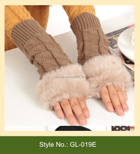 GL-019E 2015 fashion winter cycling knitted gloves with fur