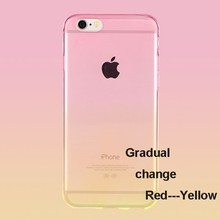 gradual changed color transparent soft TPU case for iphone 6, 0.3mm thick clear case for iphone 6 plus