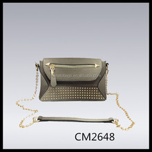 metalic silver grey studded mini satchel bag pu chain cross body bag
