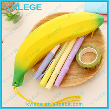 Lovely banana shape office and school use silicone pencil box