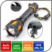 Rechargeable T6 LED 1000 lumens tactical led torch self defense emergency flashlight with alarm