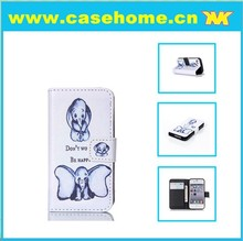 OEM printing pu leather wallet flip case for iphone 4 with credit card slots
