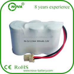 ni-cd 3.6v 2/3aa 300mah capacity rechargeable battery pack