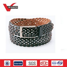 wholesale men PU braided knitted belt