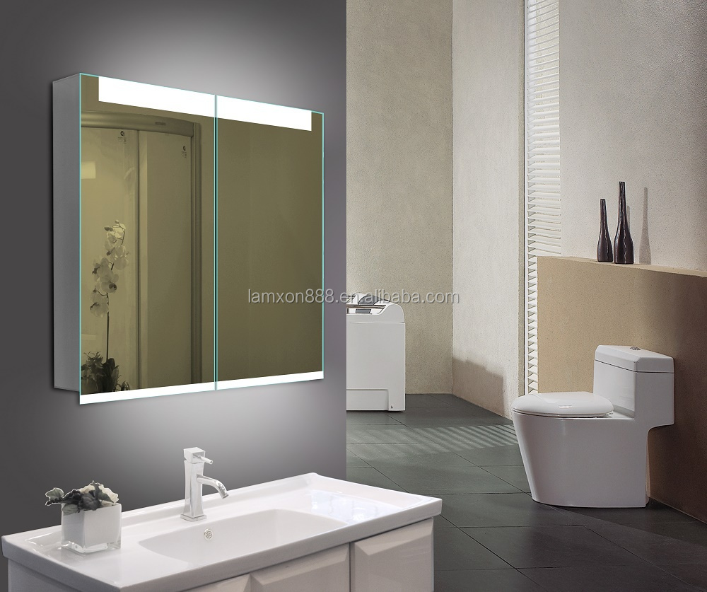 Contemporary Illuminated Bathroom Wall Mirror Cabinet With