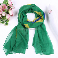 Fashion Wholesale Customize Design Women's Voile Brazil Flag Print Scarf