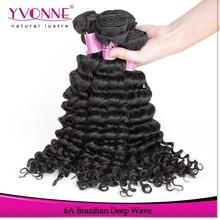 Hot sell 100% human virgin deep wave brazilian hair weaving weft