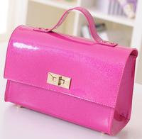 New products 2016 cute candy color shiny ladies hangbag pu fashion messenger bag good quality hotsale fashion brand women bags