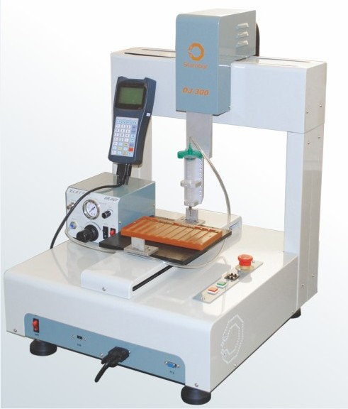 Two-component epoxy silicone mixing automatic glue dispensing robot . mini dispenser for connector use
