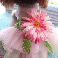 Puppy Pet Dress Party pink Sunflower petals dress Spring Summer Dog Clothes