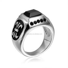 316l stainless steel agate men's ring, stone ring designs for men
