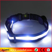 LED Light up Dog Pet Night Safety Collar Bright Flashing Adjustable Nylon velcro pork collar