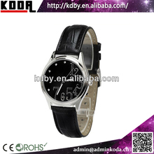 KODA black large number face genuine leather metal cheap women's watches fashion