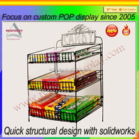 retail shops metal countertop display racks for candy boxes