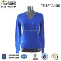 BLUE PHOENIX 2015 latest design v neck 100% cashmere ladies sweater