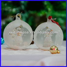 Attractive Star Open Christmas Ball frosted Glass with star angel inside
