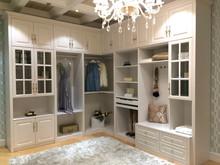 Fashion white wood veneer big stoarge coatroom open wardrobe