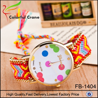 Promotional custom watch manufacturer colorful cotton rope wrist watch for women