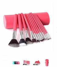 Red 12Pcs Synthetic hair Makeup brush set With cup holder