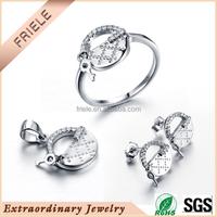 Wholesale 2015 ladies new lock&key design Jewelry Set 925 Sterling Silver with Zircon