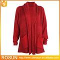 Komfortabel und warm großhandel frauen v-ausschnitt pullover strickjacke mit tasche