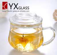 350ml china wholesale high quality office three set high borosilicate glass tea drinking cup with infuser