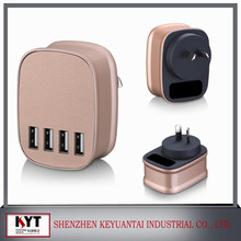 2015 hot selling 25W 4 port usb travel charger ,android tablet charger with UK,EU,US,AU plugs Plug