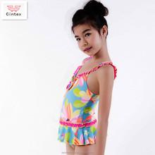 Anti-UV Swimwear Designer One Piece Dress With Pleated Flounces