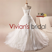 Real pictures heavy beaded ball gown long train tulle appliques wedding dress HY20