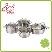 Stainless Steel German Style First Horse Cookware Set With Vented Glass Lids / PC059