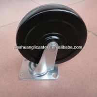 Rubber swivel wheel with top plate pin