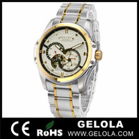 Top quality no battery automatic watch with custom watch men brand logo ,diamond watch for men