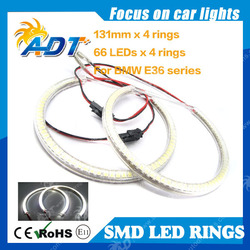 SMD Angel Eyes for BMW E46 with Projector 66SMD 131mm SMD Ring Kit Halo rings 2 door for BMW E36 E38 E39 E46 with projector