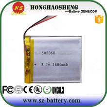 rechargeable 1500mah 3.7v lipo battery cell 505060 batterie