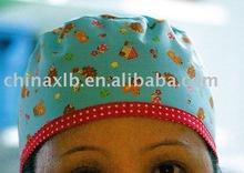Green red flower scrub cotton hospital surgical scrub, lab Hat, nurse Cap