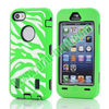 Fashionable Zebra Stripe Pattern Silicone And Hard Case For iPhone 5C(Green+white)
