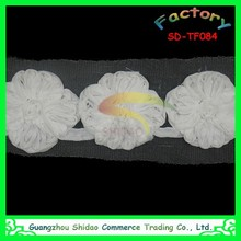 Fashion design pattern chiffon flower chemical polyester embroidery lace fabric trim to export