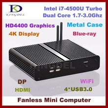 Cheap Intel i7-4500U Dual Core 1.8-3.0Ghz Remote Mini Desktop PC, , Barebone, USB 3.0, 4K, HD-MI, DP, HTPC Used, Wifi