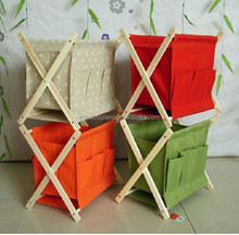 New rural Idea furniture folding solid wood canvas magazine rack ,sundries basket