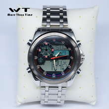 High quality 48mm stainless steel strap dial multifunction men double display electronic watch