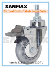 "Sanmax factory direct sale 3"" clear medical caster pu , swivel caster wheels, caster with total brake"