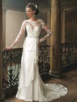 2014 Free shipping A-line floor length long train long sleeve off shoulder france lace and tsatin muslim wedding dresses 15021