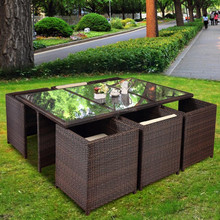 factory sale outdoor poly rattan wicker dining table and chairs